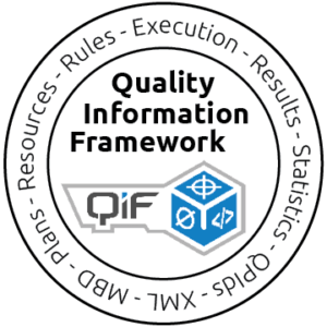 Quality Information Framework graphic surrounded by words XML MBD Plans Resources Rules Execution Results Statistics QPIds